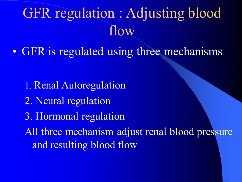GFR regulation : Adjusting blood flow