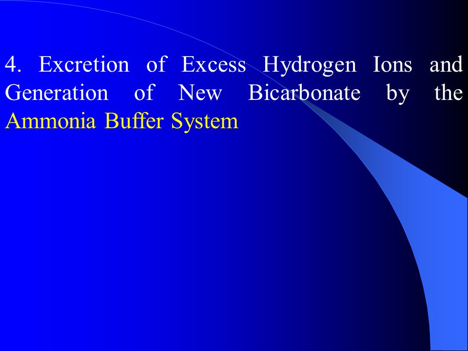 4. Excretion of Excess Hydrogen Ions and Generation of New Bicarbonate by the Ammonia Buffer System