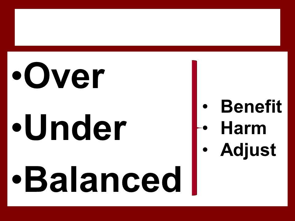 Over Under Balanced Benefit Harm Adjust