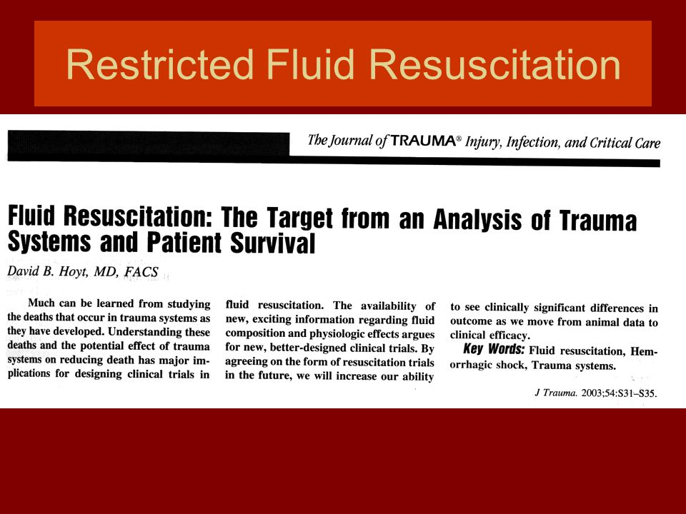 Restricted Fluid Resuscitation