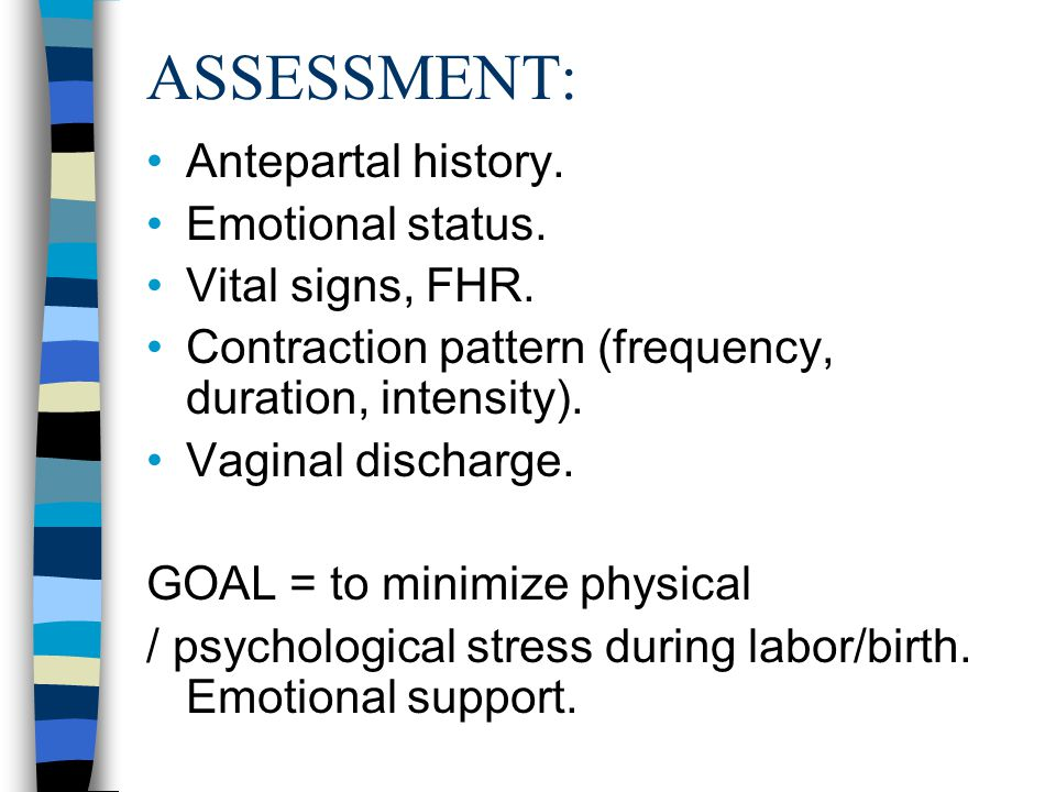 ASSESSMENT: Antepartal history. Emotional status. Vital signs, FHR.