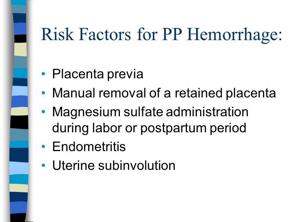 Risk Factors for PP Hemorrhage:
