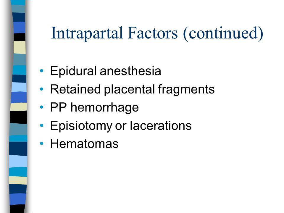 Intrapartal Factors (continued)
