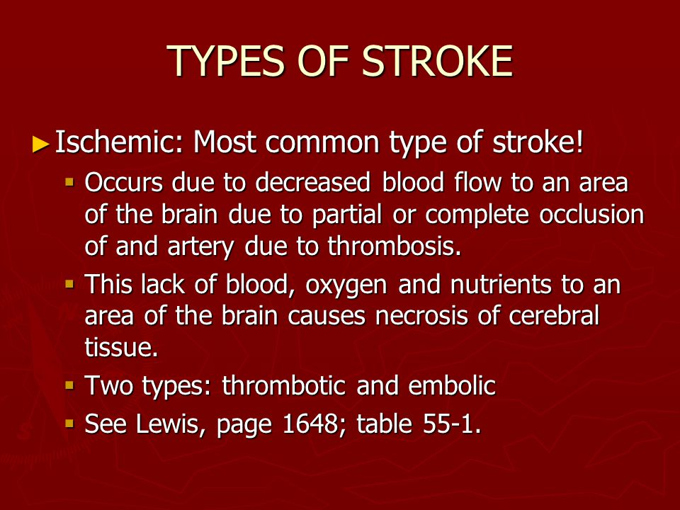 TYPES OF STROKE Ischemic: Most common type of stroke!