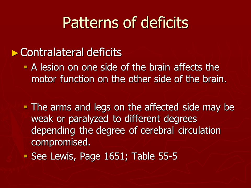 Patterns of deficits Contralateral deficits
