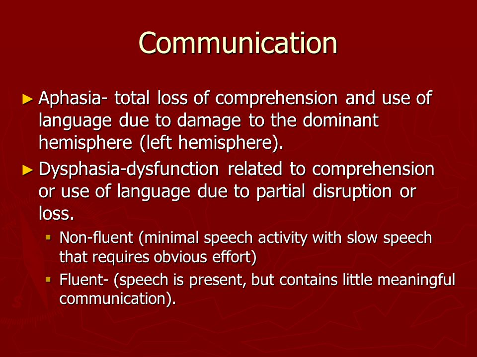 Communication Aphasia- total loss of comprehension and use of language due to damage to the dominant hemisphere (left hemisphere).