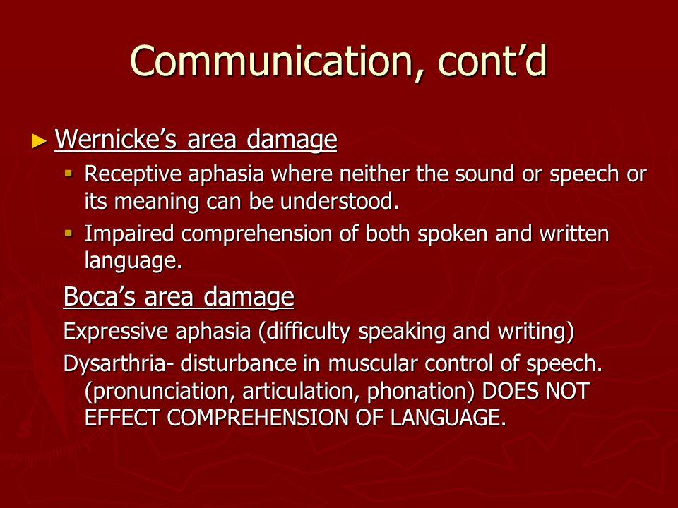 Communication, cont'd Wernicke's area damage Boca's area damage