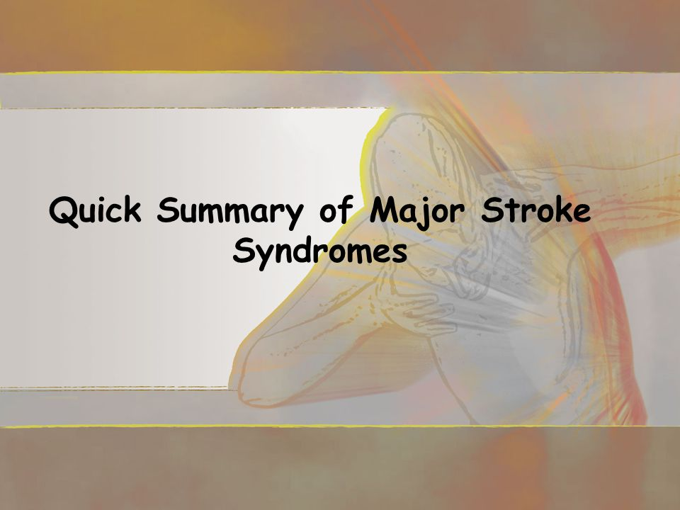 Quick Summary of Major Stroke Syndromes