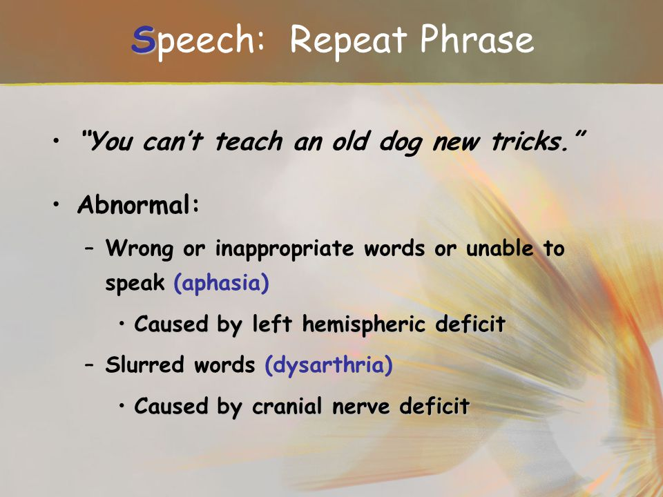 Speech: Repeat Phrase You can't teach an old dog new tricks.