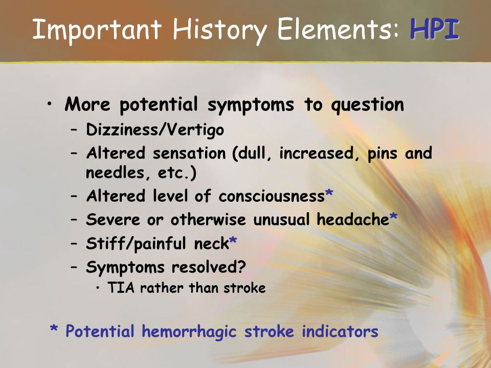 Important History Elements: HPI