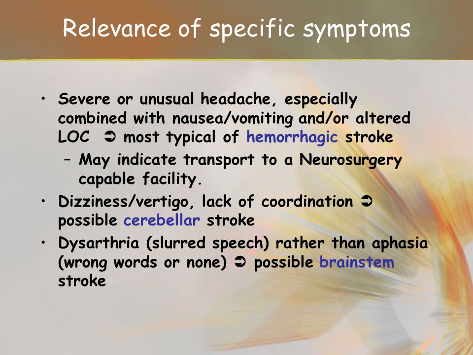 Relevance of specific symptoms