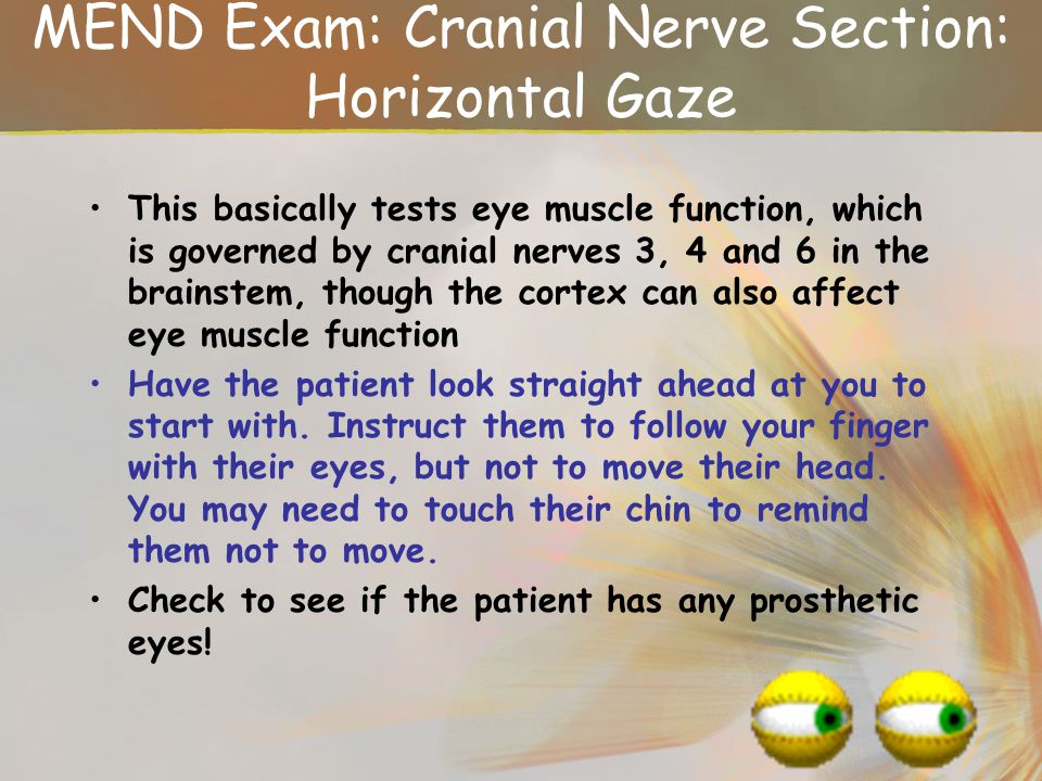 MEND Exam: Cranial Nerve Section: Horizontal Gaze
