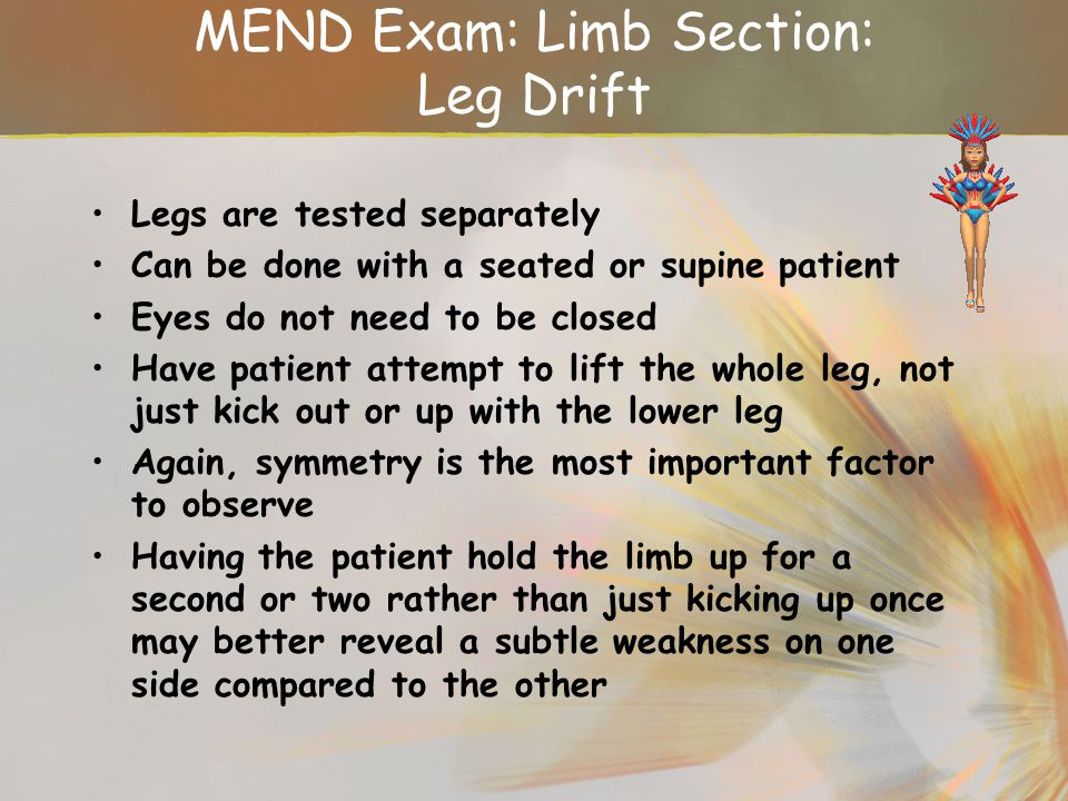 MEND Exam: Limb Section: Leg Drift
