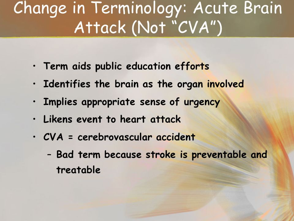 Change in Terminology: Acute Brain Attack (Not CVA )