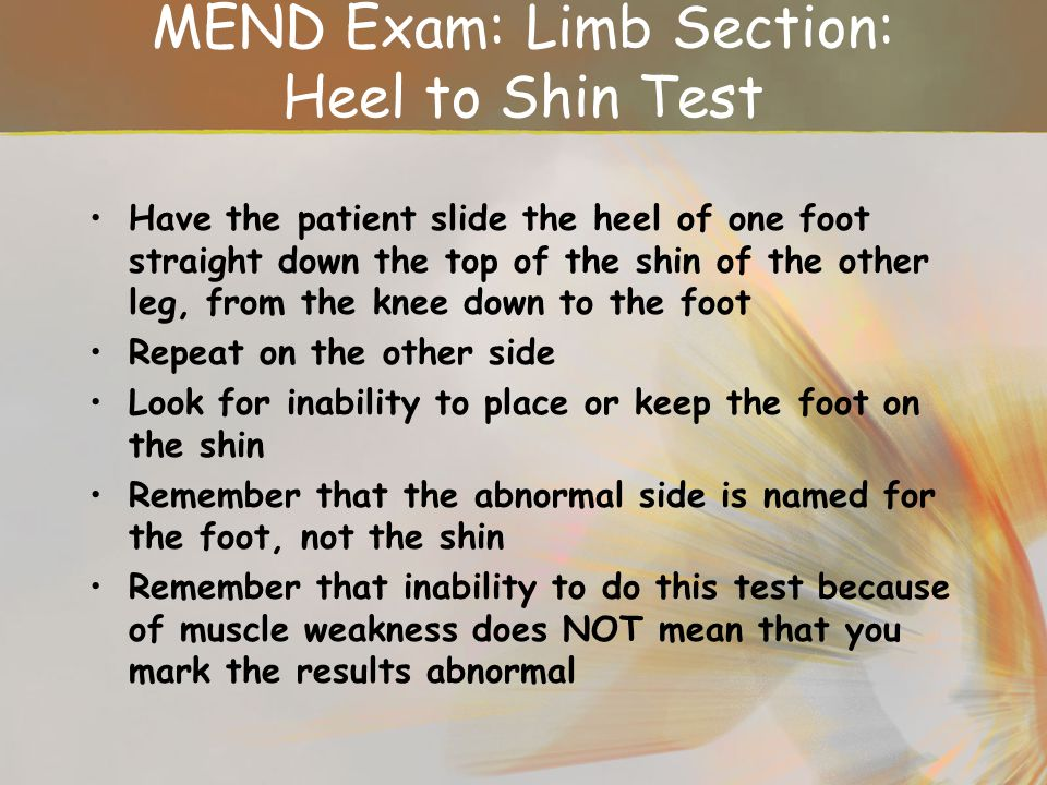 MEND Exam: Limb Section: Heel to Shin Test