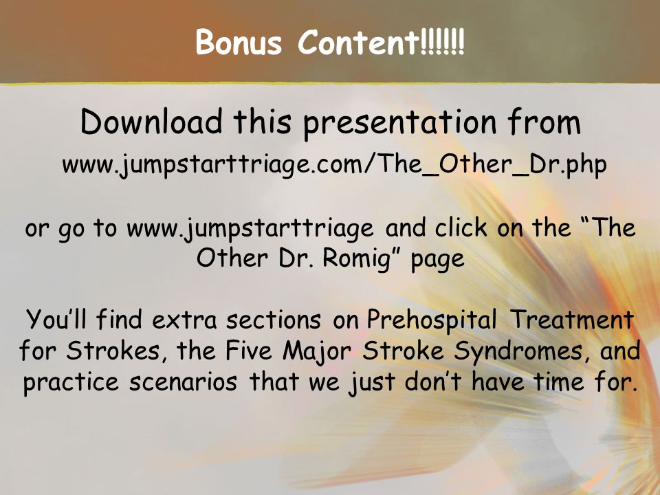 Bonus Content. Download this presentation from www. jumpstarttriage