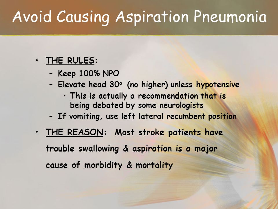 Avoid Causing Aspiration Pneumonia