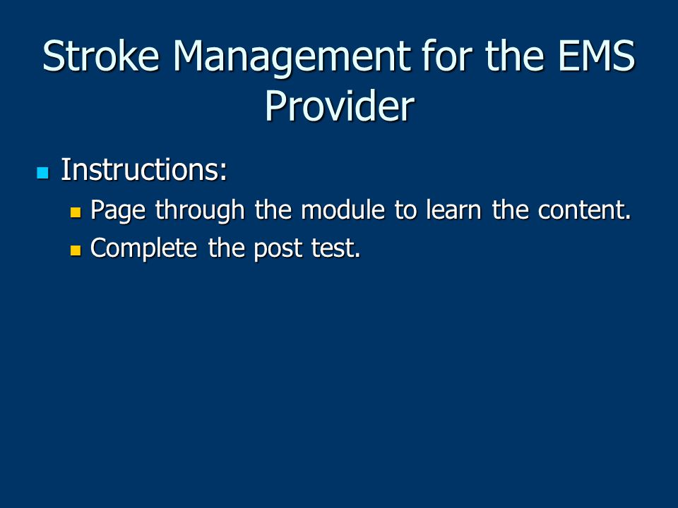 Stroke Management for the EMS Provider