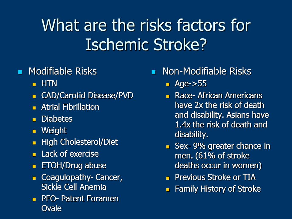 What are the risks factors for Ischemic Stroke