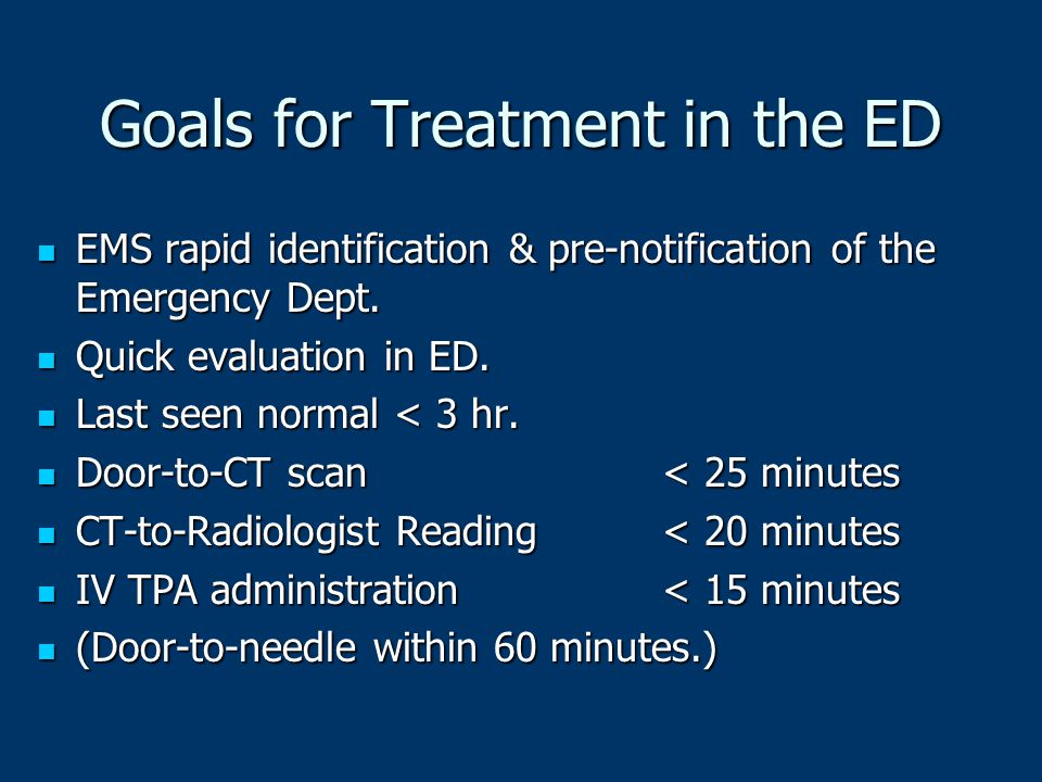 Goals for Treatment in the ED
