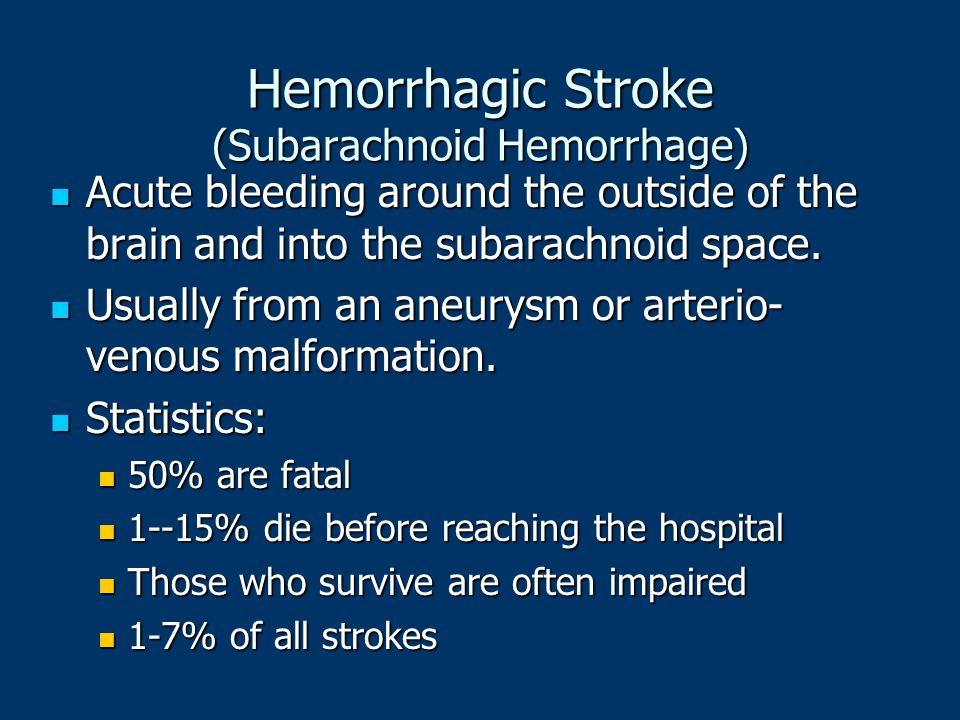 Hemorrhagic Stroke (Subarachnoid Hemorrhage)