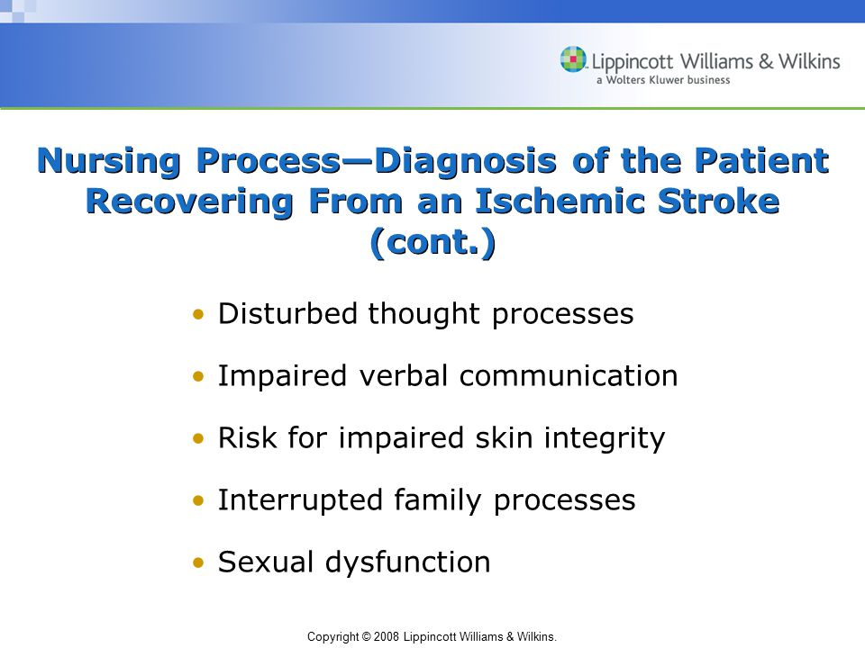 Nursing Process—Diagnosis of the Patient Recovering From an Ischemic Stroke (cont.)