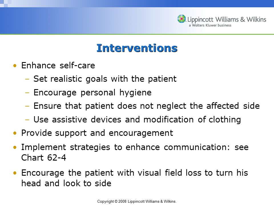 Interventions Enhance self-care Set realistic goals with the patient