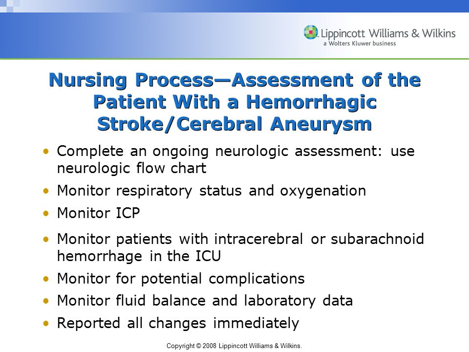 Nursing Process—Assessment of the Patient With a Hemorrhagic Stroke/Cerebral Aneurysm