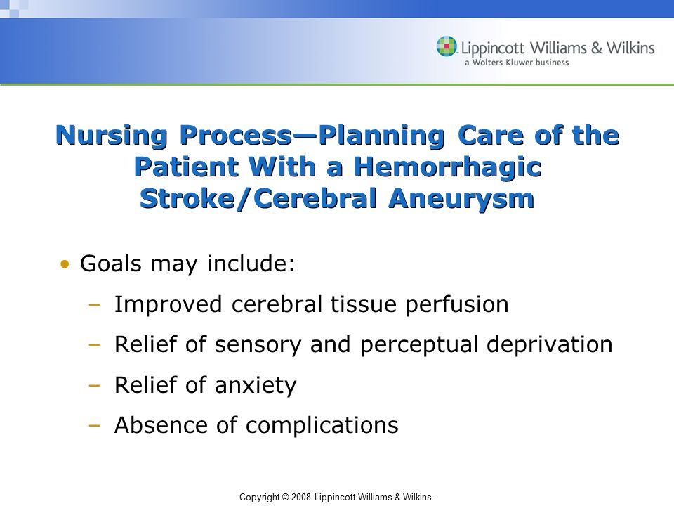 Nursing Process—Planning Care of the Patient With a Hemorrhagic Stroke/Cerebral Aneurysm
