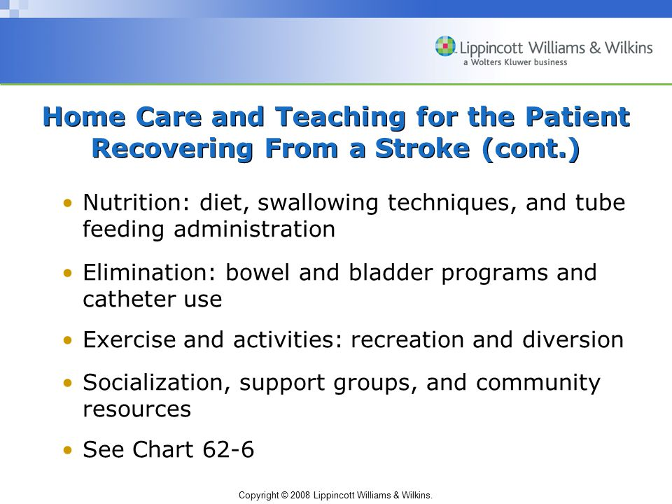 Home Care and Teaching for the Patient Recovering From a Stroke (cont