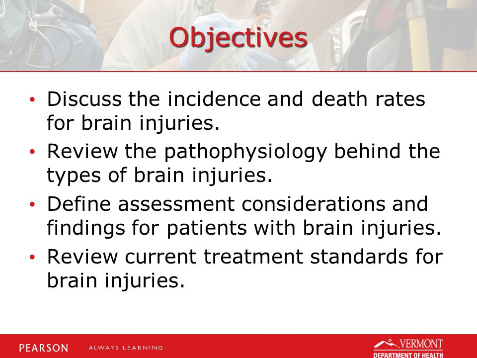 Objectives Discuss the incidence and death rates for brain injuries.