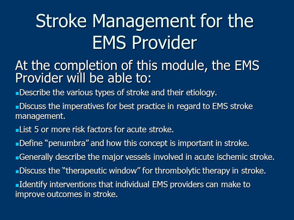 Stroke Management for the EMS Provider