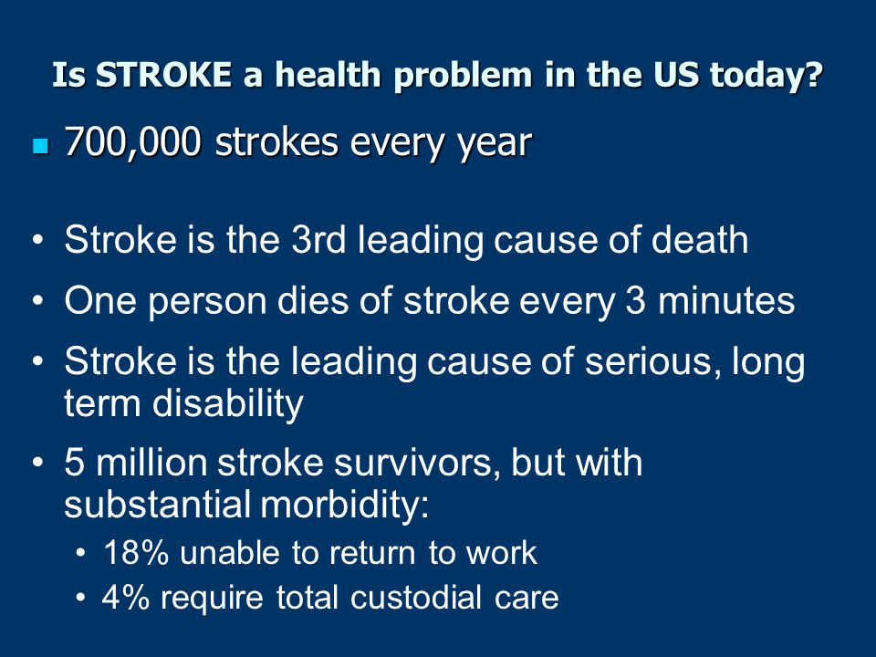 Is STROKE a health problem in the US today