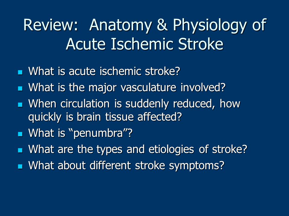 Review: Anatomy & Physiology of Acute Ischemic Stroke