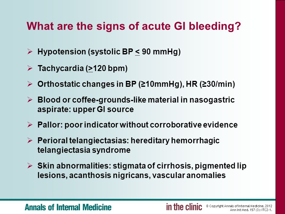 What are the signs of acute GI bleeding