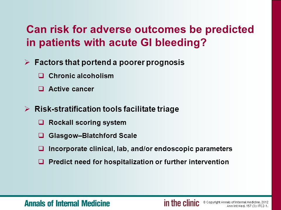 Can risk for adverse outcomes be predicted in patients with acute GI bleeding