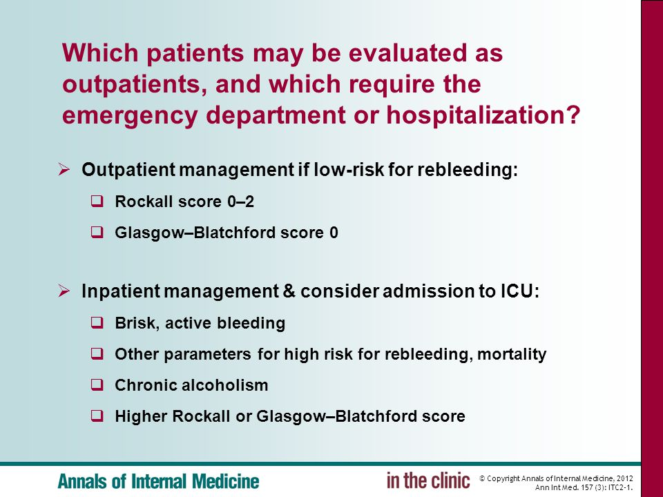 Which patients may be evaluated as outpatients, and which require the emergency department or hospitalization