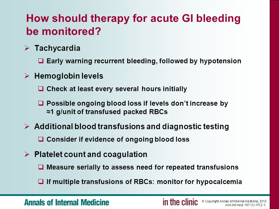 How should therapy for acute GI bleeding be monitored