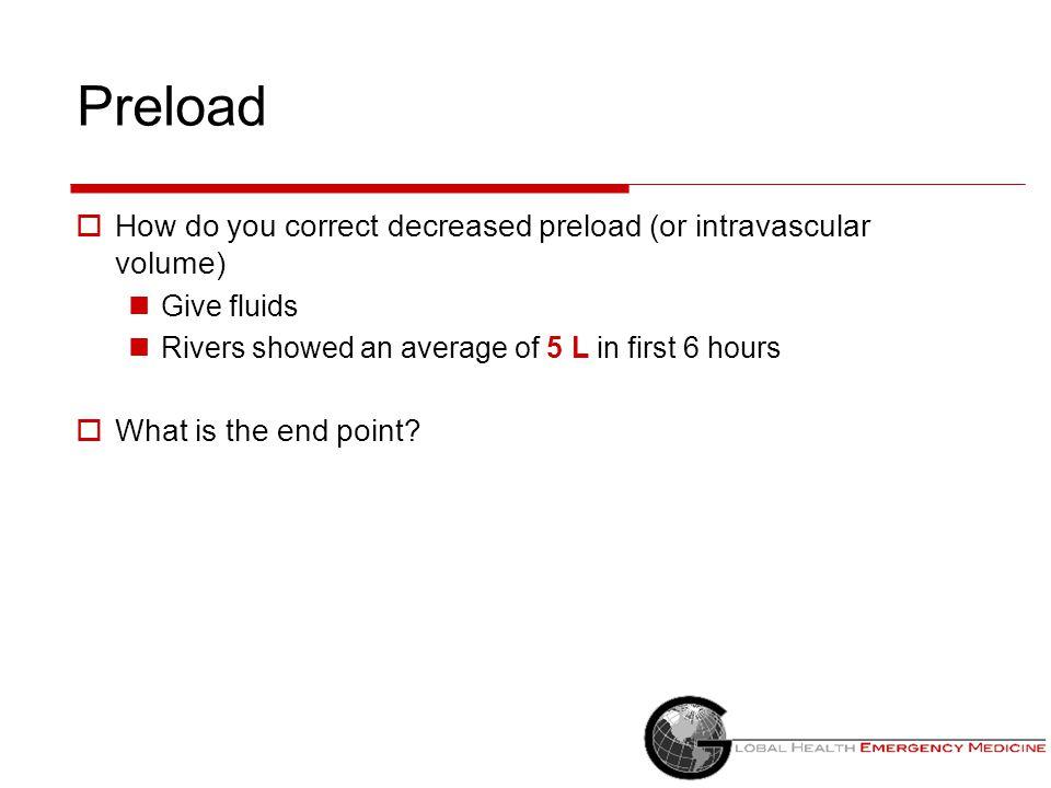 Preload How do you correct decreased preload (or intravascular volume)