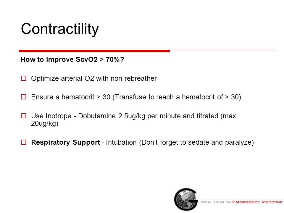 Contractility How to improve ScvO2 > 70%