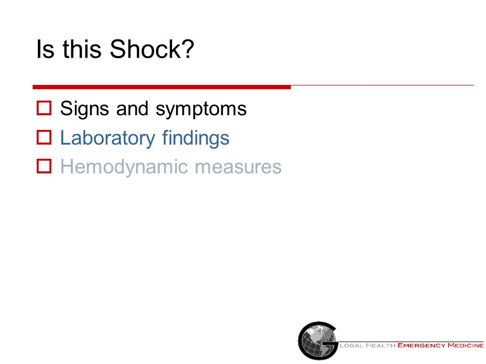 Is this Shock Signs and symptoms Laboratory findings