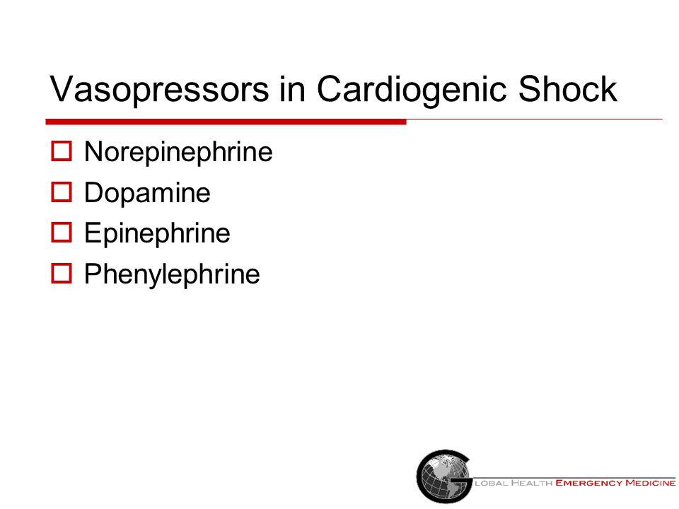 Vasopressors in Cardiogenic Shock