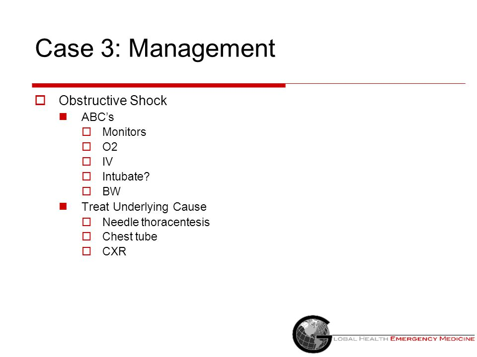 Case 3: Management Obstructive Shock ABC's Treat Underlying Cause