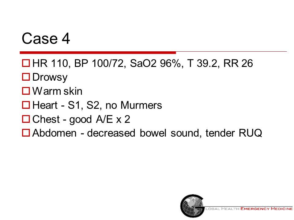 Case 4 HR 110, BP 100/72, SaO2 96%, T 39.2, RR 26 Drowsy Warm skin