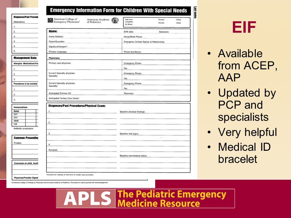 EIF Available from ACEP, AAP Updated by PCP and specialists