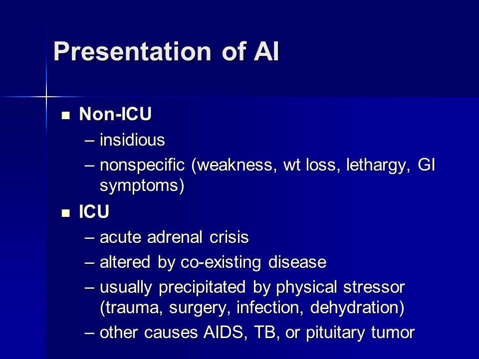 Presentation of AI Non-ICU ICU insidious