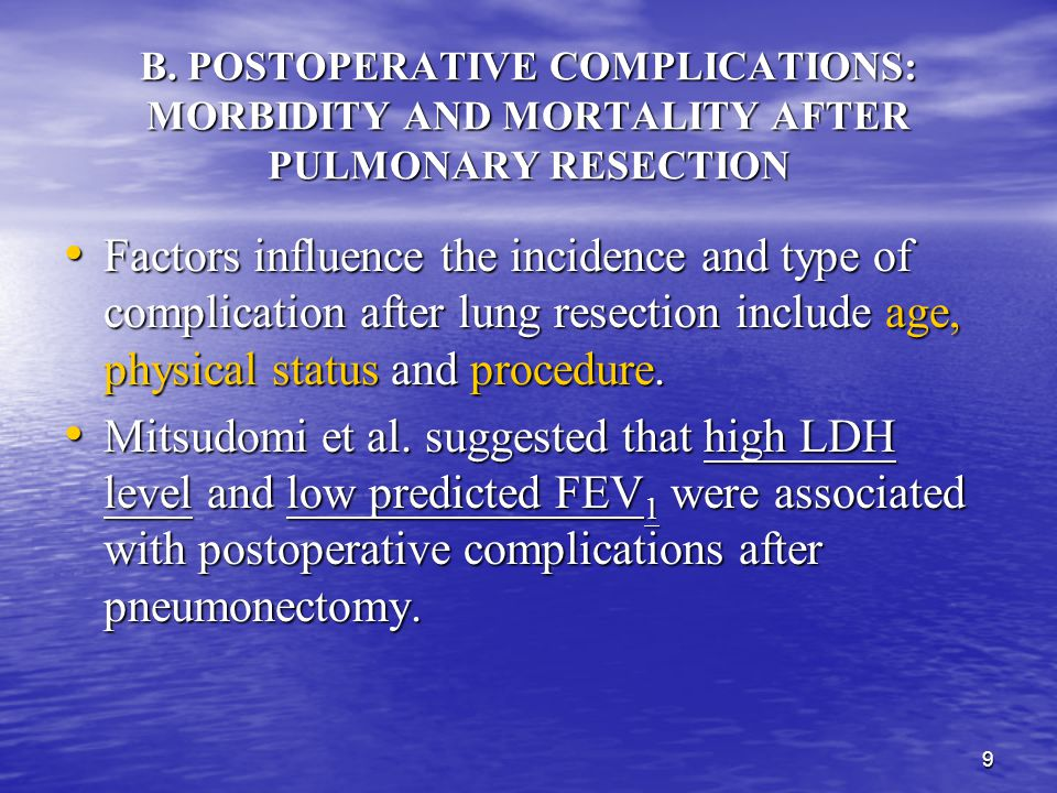 B. POSTOPERATIVE COMPLICATIONS: MORBIDITY AND MORTALITY AFTER PULMONARY RESECTION