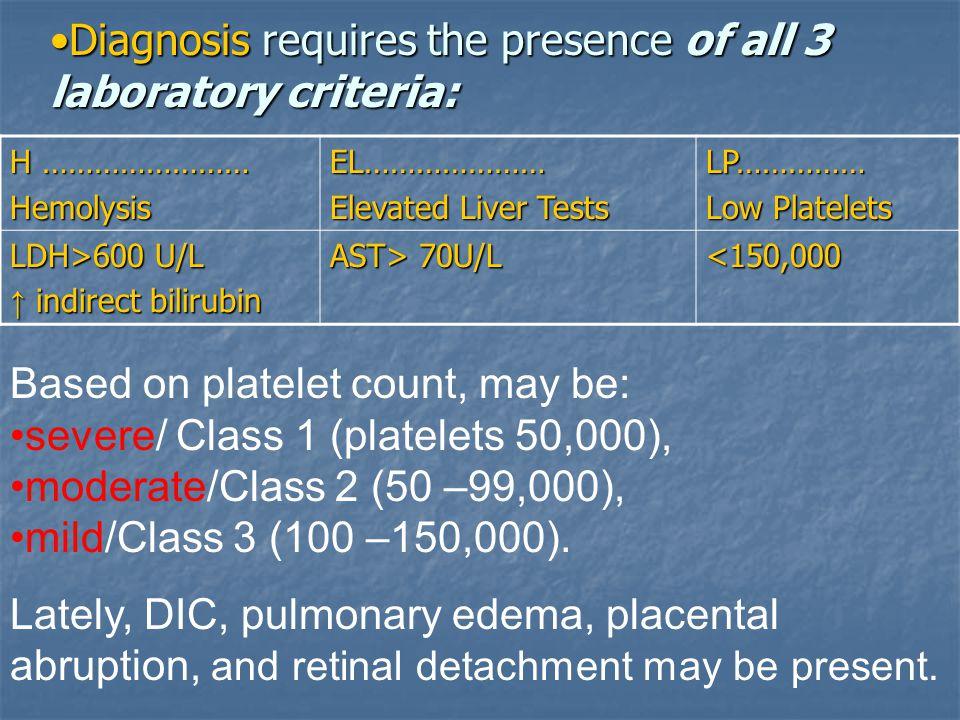 Diagnosis requires the presence of all 3 laboratory criteria:
