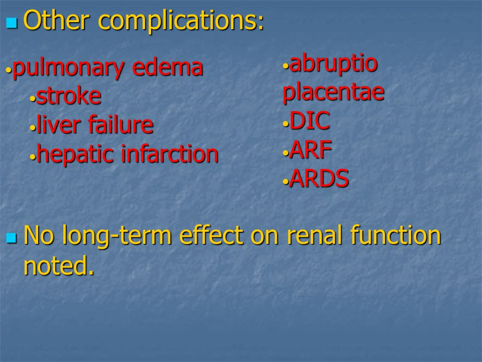 Other complications: No long-term effect on renal function noted.