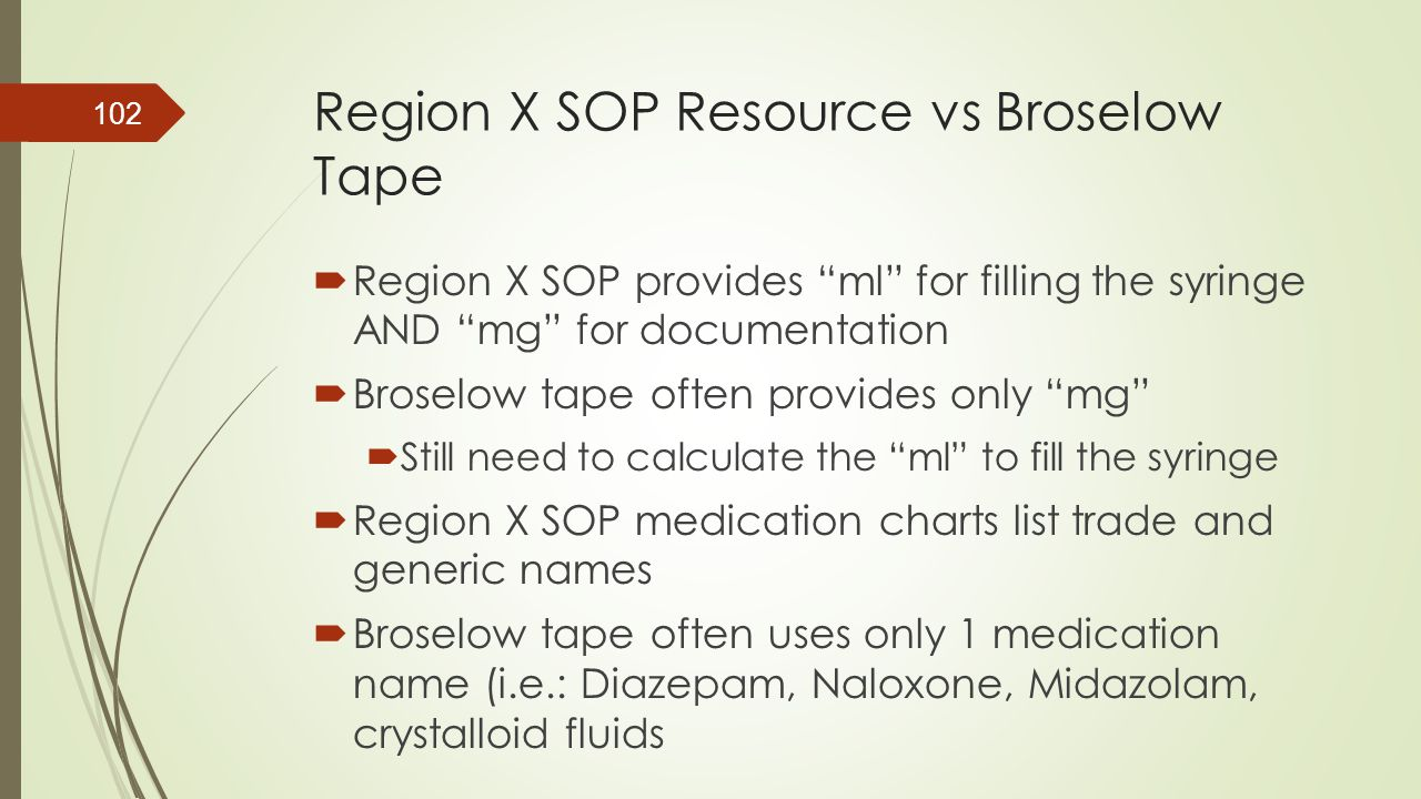 Region X SOP Resource vs Broselow Tape